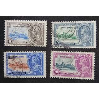 香港 1935年 喬治五世銀𨭎紀念全套舊票