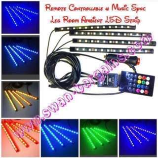 Music-Synchronization Plug-n-Play 12V Car MPV Van Minibus Truck Legroom Ambient LED Strip Lighting Sound Activated Colour Changing Decorative Cabin Atmosphere RGB LED Strip Waterproof Light Bar