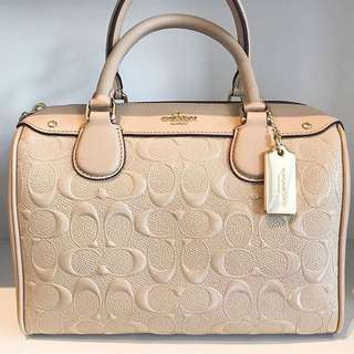 Authentic 💯Ready Stock COACH Mini Bennett Satchel in Signature Patent Leather in Platinum
