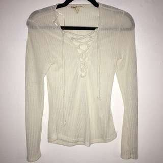Ripped Lace up Long Sleeve Shirt