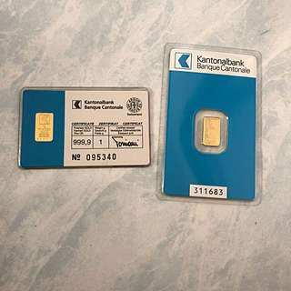 Kantonalbank 1g 999 pure gold bar - lot of 2