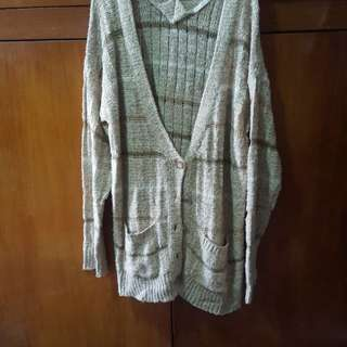Cardigan rajut emas import/ long gold knit cardigan