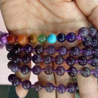 🚚 天然8mm珠紫水晶108顆項鍊