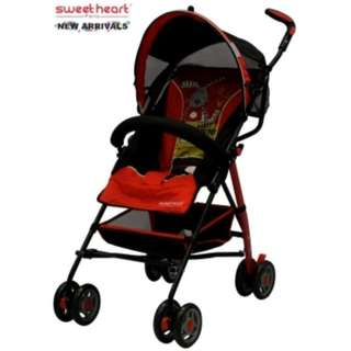 Sweet Heart Paris BG200 Stroller Buggy (Red) with Back-Rest Reclining