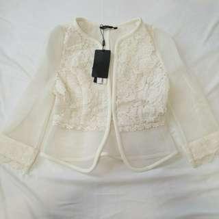 【半價】白色蕾絲外套