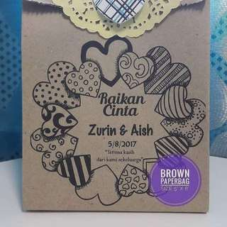 Paper bag with cookies wedding favor berkat door gift