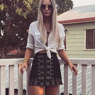 PRINCESS POLLY Aztec Suede Skirt