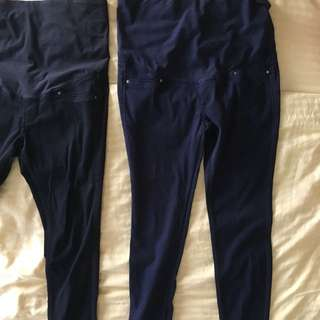 H&M comfy maternity pants - Navy (slim cut at the bottom)