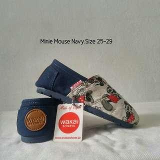Sepatu wakai minnie mouse navy