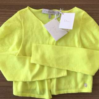 ORIGINAL Christian Dior Kids Yellow Neon Cardigan