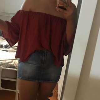 Off the shoulder red top