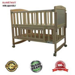 Sweet Heart Paris WCT138 Multi Functional Baby Wooden Cot (New Fabric Design)