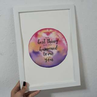 Personalised Frame with Quote for Valentines Day Present Gift Anniversary Gift Birthday Party Decor Calligraphy Handwritten Diy Galaxy Watercolor
