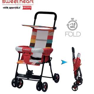 Sweet Heart Paris One Second Folding Portable Baby Buggy Stroller BG203 (Red)