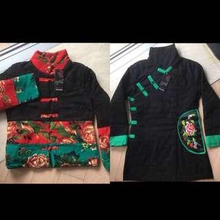 兩件中國新年唐裝棉衣外套 刺繡花 加 復古盤扣棉衣