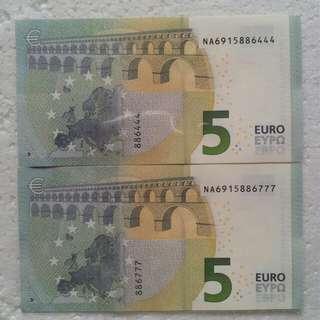 兩張5歐元 豹子號