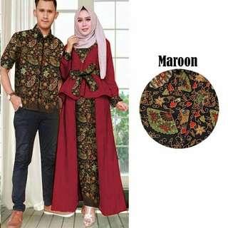 Couple Emerald maroon Rp160.000 bahan korean silk maxi peprum ada busui sleting dpn ld96cm pjg 135cm kombi batik silk prada motif asli+kemeja cwo ld104. Redi jkt
