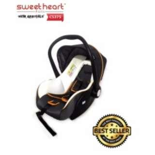 Sweet Heart Paris Baby Car Seat with Sun Shade Canopy CS375 (White Grey)