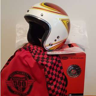 Bell LE Custom 500 Copperhead Orange / White Open Face Motorcycle Motorbike Cafe Racer Helmet X-Small Small Medium Large X-Large XX-Large