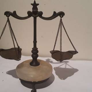 vintage justice of balance scale / antique marbel with brass brown / & now is Not applied much as judiciary is a fake law is also a fake of doubell standard hee heee he hee