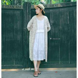 Muted Beige Embroidery Oversize Midi Outerwear