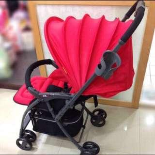 「撿便宜」品牌超輕量雙向推車附雨罩(紅)三重自取