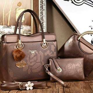 Prada 3 in 1 Bags Coffee Color