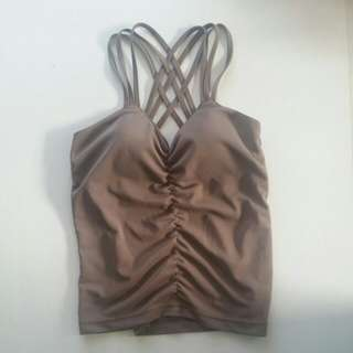 Camo beige green top with fitted bra