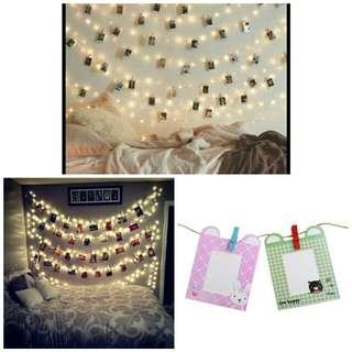 Paket Lampu Tumblr, frame + wooden clip