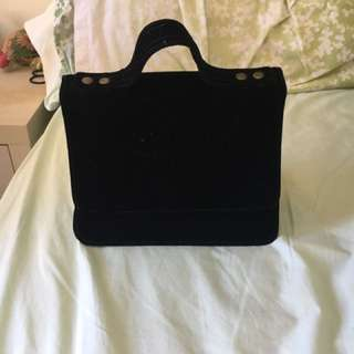 Black velvet vintage handle bag