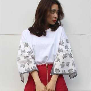 Japanese Brand White Detailed Top