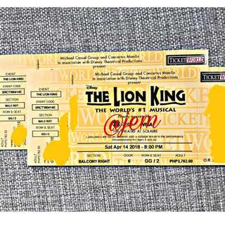The Lion King Musical (2 Balcony Tickets, Apr 14, 8PM)