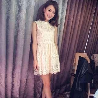 韓製 蕾絲透膚感洋裝