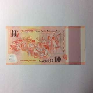 5AL082086 Singapore Commemorative SG50 $10 note.