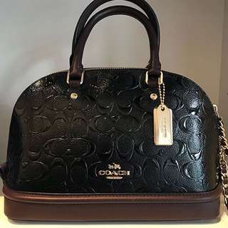 Authentic 💯 COACH Mini Sierra Signature Debossed Patent Satchel- Black Oxblood