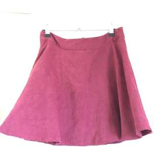 Rose coloured suede skater skirt