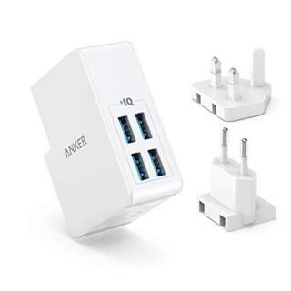 Anker USB Charger 27W 4-Port USB Wall Charger PowerPort 4 Lite with Interchangeable UK and EU Plugs