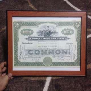 Duit lama / sijil saham new york 1954-1958