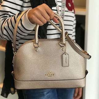 Authentic 💯 COACH Mini Sierra Satchel- Platinum