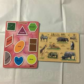 Bundle of Wooden Puzzles, Shapes and Animals