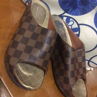 Lv inspired wedge sandals
