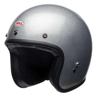 Bell Custom 500 Size Small,  Medium, Large, X-Large, XX-Large, X-Small, XS XL XXL, Adult Cruiser Cafe Racer Motorcycle Motorbike Helmet Silver Flake