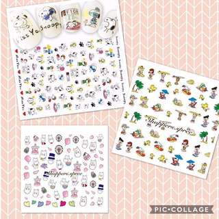 Snoopy Woodstock Moomin Charlie Brown  Nail Stickers