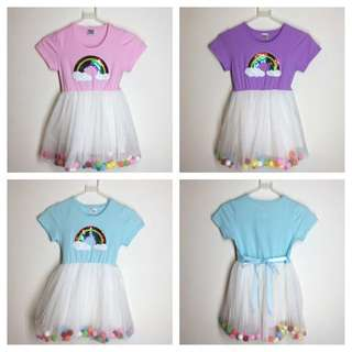 Girls Rainbow Tutu Dress / Girls Colorful Balls Tutu Dress