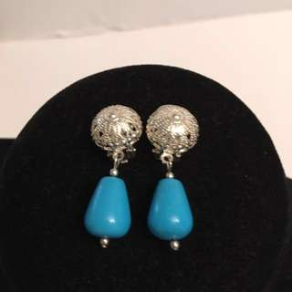 Vintage  Turquoise drop silver earrings