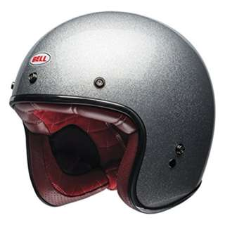 Bell Custom 500 SIZE SMALL LARGE X-LARGE X-SMALL XL XS ONLY Gloss Silver Flake Red Leather Interior Motorcycle Motorbike Cafe Racer Helmet
