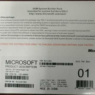 全新未拆Windows Pro 7 SP1 專業版 64 bit 原裝正版軟件 OEM 英文版 (可轉中文) Win7 正版