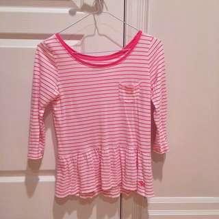 Abercrombie pink striped peplum top