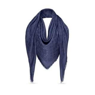 Authentic Louis Vuitton Bleu Nuit Momogram Shawl Silk / Wool XL Scarf / Wrap