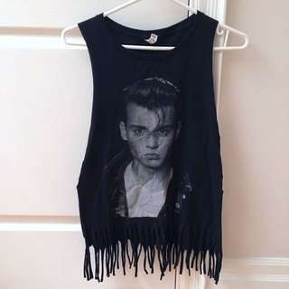 Vintage Johnny Depp Crybaby Fringe Muscle Tank Top